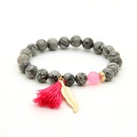 animal picture - New Design mm Grey Picture Jasper Stone Beads with Tassel Leaf Couple Lucky Bracelet