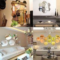 Cheap Fashion 3D Hexagon Decorative Home Mirror Removable Home Mirror Wall Stickers Decal Art Vinyl Room Decor DIY