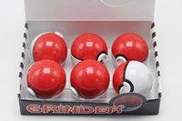 alloy plastic parts - DHL Free Latest Pokeball Grinder Poke Grinders Herb Grinders Metal Zinc Alloy Plastic Metal Grinders Parts pokeman Grinders