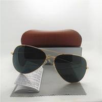 Lente de cristal de la calidad de AAA + hombres de la manera y gafas de sol piloto de las mujeres UV400 diseñador de la marca de fábrica Vidrios de sol del deporte de la vendimia con la caja de Brown