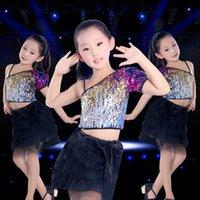 Wholesale Children s Colorful Sequins Dance Performance Costume Girls Modern Jazz Dance Performance Costume Chorus Dress Skirt