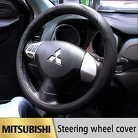 ask style - ccessories bbq Leather Car Styling Steering Wheel Cover For Mitsubishi Outlander ASK Lancer EX L200 Colt Pajero Sport Auto access