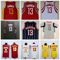 Camiseta # 13 de James Harden Jersey del estado de Arizona Jersey del baloncesto de la universidad de los diablos de Sun Amarillo Rojo Blanco Logotipos cosidos