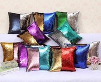 Wholesale Sequin Glitter Pillow Case cover Reversible Sofa Cushion Cover Magic Double Reversible Swipe Pillow Covers Home Décor design