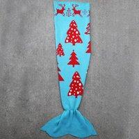 Wholesale Mermaid Tail Blanket For Kids Children cm Crochet Mermaid Tail Blankets for Kids Cartoon Blankets Mermaid Sofa Blankets Christmas Gift