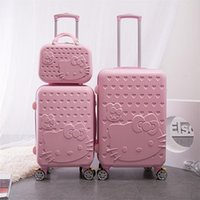 Wholesale Women Rolling Luggage Fashion ABS Hello Kitty Travel Suitcase Password Valise Boarding Suitcase with Cosmetic Case EC