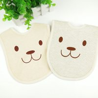 Green baby khaki - Warm cartoon buckle baby bib maternal and child supplies natural color cotton baby mouth mouth baby saliva towel