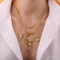 Femmes Mode Or Plaqué Owl / Key / Angel / English Letters Pendentif Multilayer Choker Collier Collier Statement Collier Bijoux