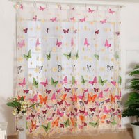 Wholesale Fashion New Hot Use Butterfly Print Sheer Curtain Panel Window Balcony Tulle Room Divider Colorful W1 S2
