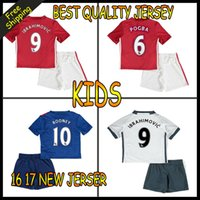Wholesale 2016 Top Quality Manchesters kids soccer Jersey home away rd jerseys UnITED Ibrahimovic MEMPHIS ROONEY POGBA kids kit Football Shirt