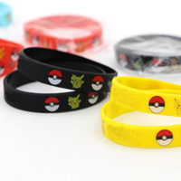 Mexican beaded wrist bands - 2016 new Silicone Bracelets Pocket Monster Wristband Soft poke ball Wrist band Straps Figures Kids Toys Kids christmas cosplay Gift best