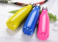 Wholesale 15 colors Cola bottle Shaped Insulated Double Wall high luminance Water oz ml vacuum bottle stainless steel Creative Thermos bottle