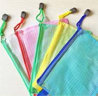 Wholesale 48PCS Tpvc file bag with zipper A4 Document Bag Pocket File Folder for Office Supplies