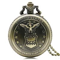 air force eagle - New Bronze Air Force Eagle Stars Quartz Antique Pendant Chain Pocket Watch for Men and Women P103