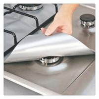 aluminum stove burner liners - 4PCS Reusable Silver Range Protector Aluminum Foil Gas Stove Burner Cover Protectors Liner Clean Mat Pad