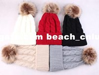 Wholesale DHL Fashion Women Caps Beanies Winter Keep Warm Hats Knitted Wool Fur ball Pom Poms Hemming Hat Skullies Bonnet female Caps