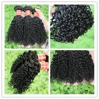 Nature Péruvienne Extensions de cheveux Bundles Curly Weave Cheveux humains Tissage Peruvian Kinky Virgin Hair 4 Lots Lot Curly Weave coiffure