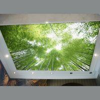 Wholesale ceiling wallpaper bamboo wallpaper green scenery sky decoration living room custom KTV bar
