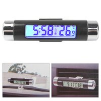 Wholesale Fashionable Two Way Car LCD Blue Backlight Digital Car Clock Thermometer Car Thermometer Digital with Clip