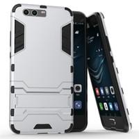 El caso para Huawei P10 más honra mágica V9 6X Mate9 favorable casco a prueba de choques del teléfono celular de la resistencia de la gota de Kickstand híbrido de la cubierta libera el envío