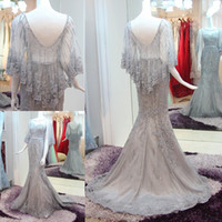 Wholesale The new custom wedding dress Sleeveless round collar princess dress Beaded decals fishtail gown Party dress