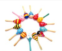 Wholesale A small wooden hammer Children s small sand hammer Mini hammer YX200 orff instruments of high quality solid wood green paint