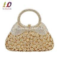 Vente en gros-élégant or sac de soirée en cristal de luxe femmes embrayage sac avec poignée formelle strass banquet sac avec chaîne 88343