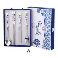 Wholesale YUMU Blue And White Porcelain Chopsticks Set Dinnerware Tableware Folk Handicraft Art Tableware Ceramic Gifts Cutlery Travel Set