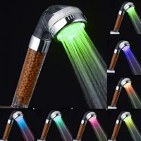 Polished bathroom contemporary lighting - Water Saving LED Sprayer Bathroom Hand Shower Modern Color Changing Lighted Shower Head Held Ultimate Shower Seoul Stone