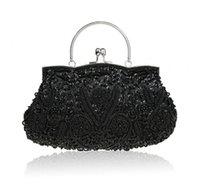 Moda negro señoras de rebordear con cuentas de banquete bolso de embrague partido nupcial de noche con bolso de hombro cadena de monedero MakeupBag 03393-G