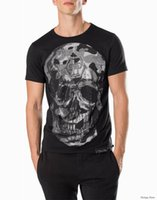 Wholesale 2017 New Tide Brand Cotton Tees Short Fit Slim Casual Tee Print D Rhinestone Skulls desinger MENS T shirts Cotton Top quality P18233