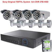 achat en gros de disque dur système de vidéosurveillance hdd-4pcs Sony Effio-e 700TVL HD Caméra Haute Résolution + 8ch 1080P DVR + 2 To HDD disque dur système de surveillance de sécurité cctv