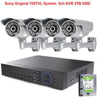 al por mayor hd dvr cámara de 8 canales-4pcs Sony original Effio-e 700TVL HD de alta resolución de la cámara + 8ch 1080P DVR + 2TB HDD disco duro sistema de vigilancia de seguridad cctv