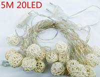 Wholesale 5m Rattan ball lights led bulbs for xmas and holiday using white warmwhite led lights string