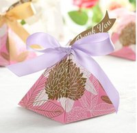 Wholesale 100 European style blue golden Pearl paper triangle pyramid Wedding box Candy Box gift boxs wedding favour boxes