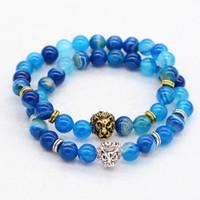 Cheap Beaded, Strands nature blue agate Best Middle Eastern Men's 8mm bead Elastic Bracelet