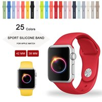 Wholesale 25 Colors MM MM Silicone Sport Band With Connector Adapter For Apple Watch Band mm mm Strap For iWatch Sport Buckle Band
