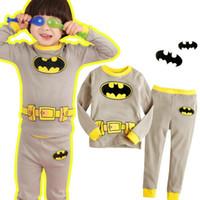 Wholesale Full Pants Shirts Suit Kids Clothes Pajamas Sets Boys Girls Superhero Super Man Set Spring Children s Pajamas
