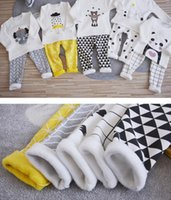 baby warm suit - Ins Baby Pieces Set Kids boy Girl Suit Set Thick Velvet Long Sleeve T shirt pants kids Winter Warm clothing sets