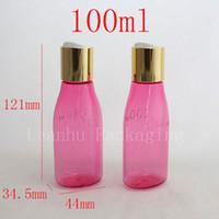 100ml,100g,100cc,3.30z aluminum forming - 100ml X50 rose red colored strange form plastic bottle with gold aluminum disc top cap size logo on bottle lotion bottle bottles