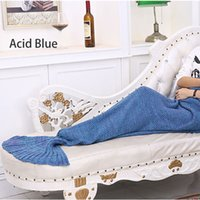 Wholesale Soft Crochet Mermaid Fish Tail Blanket Knitted Mermaid Sofa Acrylic Quilt Warmth Throw for Kid Children Girl Adults