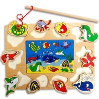 Cheap Wholesale-Baby Children wooden Fishing Game & Wooden Ocean Jigsaw Puzzle Board Magnetic Rod Toy Outdoor Fun game Toy Gift For Kid