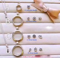 Wholesale 4 Style Floating Locket Pendant Necklace women Magnetic Living Memory Glass Floating Charm Locket With bead Chains DIY S925 Sliver Necklaces