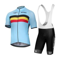 achat en gros de short de vélo d'équipe-Personnalisé NOUVEAU 2017 Belgique belge Classique JIASHUO mtb road RACING Team Bike Pro Ensembles de vélo Jersey Ensembles Bib Shorts Vêtements Breathing Air