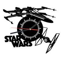 Wholesale Piece X wing Tie Fighter Wall Clock Hanging Time Clock Lase Cut Plexiglass Clock For Star Wars Fan