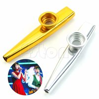 "KAZOO 12x1.7cm/4.72""x0.67"" Golden / Silver Wholesale-Metal Kazoo Mouth Harmonica Flute Kids Party Gift Kid Musical Instrument kid Gift"