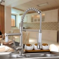 Wholesale US W Nickle Brushed Kitchen Faucet With Hot Cold Switch Function Spring Kitchen Vessle Mixer Tap Dual Sprayer Pull Down Tap