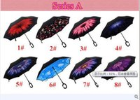 Wholesale Windproof Reverse Folding Double Layer Inverted Chuva Umbrella Self Stand Inside Out Rain Protection C Hook Hands DHL Free
