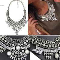 Wholesale 2017 Women Shinny Charm Pendant Chain Crystal Beads Choker Bib Statement Necklace Casual Valentine s day Gift