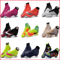 Wholesale 2017 Mens Football Shoes Boots Neymar Hypervenom Phantom JR Mercurial x EA SPORTS Superfly FG Outdoor Soccer Cleats High Ankle Soccer Shoes